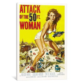 iCanvas Attack of The 50 Foot Woman Vintage Movie Poster by Reynold Brown Canvas Print