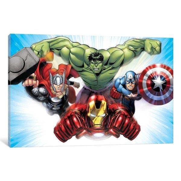 iCanvas Comics (Avengers) - Iron Man, Thor, Hulk And Captain America Flying by Marvel Comics Canvas Print