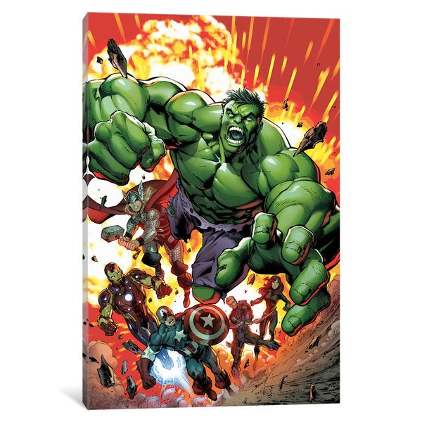 iCanvas Marvel Avengers: Black Widow, Captain America, Hawkeye, Hulk, Iron Man and Thor (Red) by Marvel Comics Canvas Print