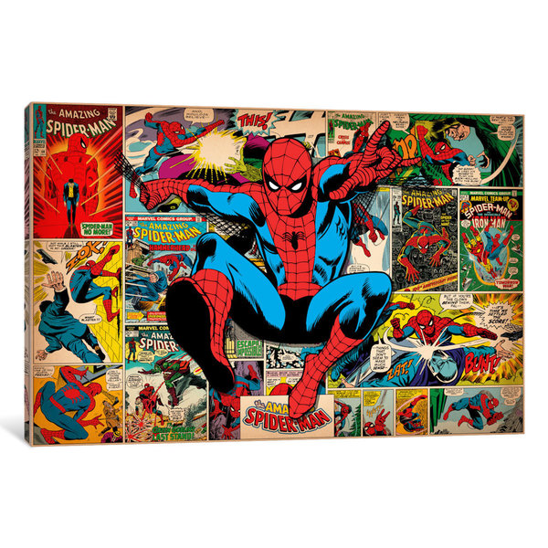 iCanvas Marvel Comic Book Spider-Man on Spider-Man Covers and Panels by Marvel Comics Canvas Print