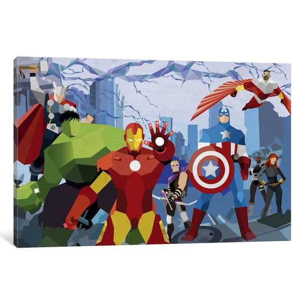 iCanvas Avengers Assemble Geometric by Marvel Comics Canvas Print