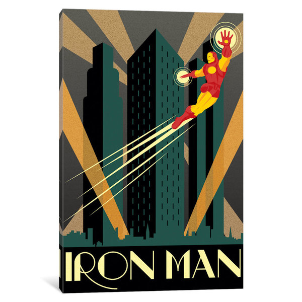 iCanvas Iron Man Minimalistic Poster by Marvel Comics Canvas Print