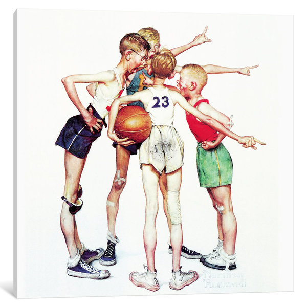 iCanvas Oh yeah (Four Sporting Boys: Basketball) by Norman Rockwell Canvas Print