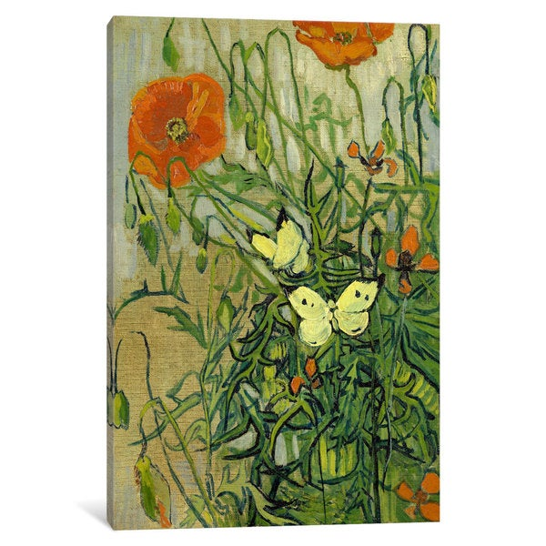 iCanvas Butterflies and Poppies by Vincent van Gogh Canvas Print