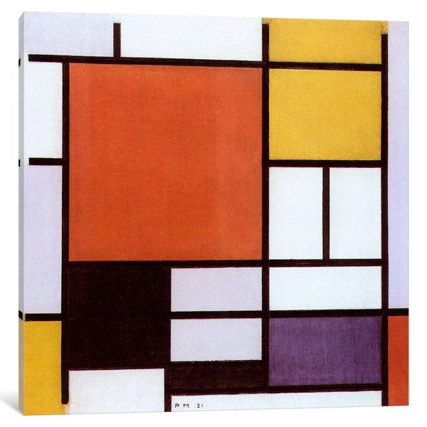 iCanvas Composition with Large Red Plane, Yellow, Black, Gray & Blue by Piet Mondrian Canvas Print