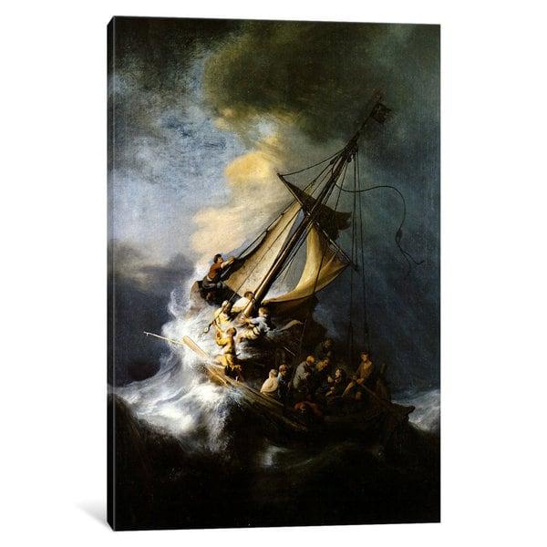 iCanvas The Storm on the Sea of Galilee by Rembrandt van Rijn Canvas Print