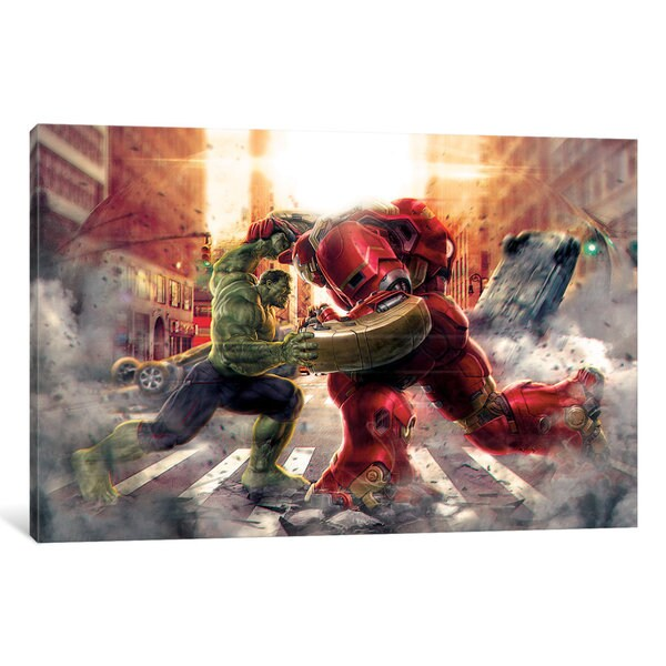 iCanvas Hulk & Hulk Buster: Face to Face, Movie Poster by Marvel Comics Canvas Print