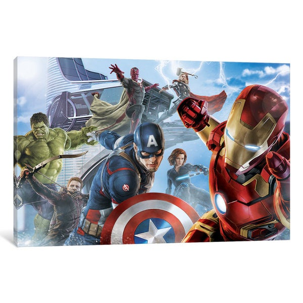 iCanvas Avengers & The Vision, Movie Poster by Marvel Comics Canvas Print