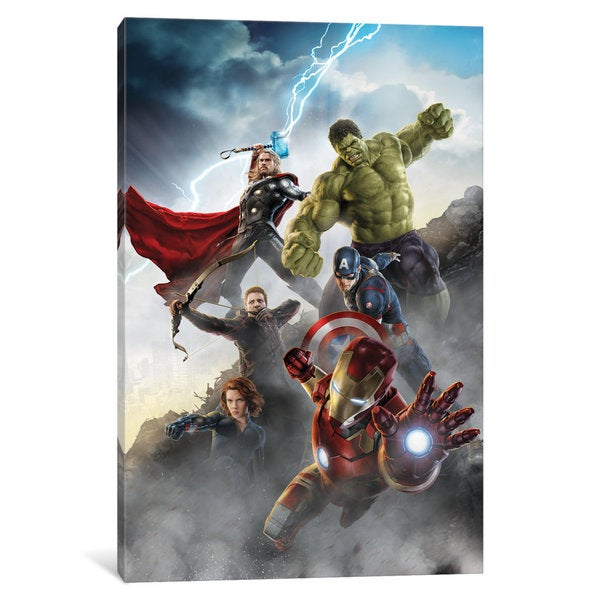 iCanvas Avengers Attack, Movie Poster by Marvel Comics Canvas Print