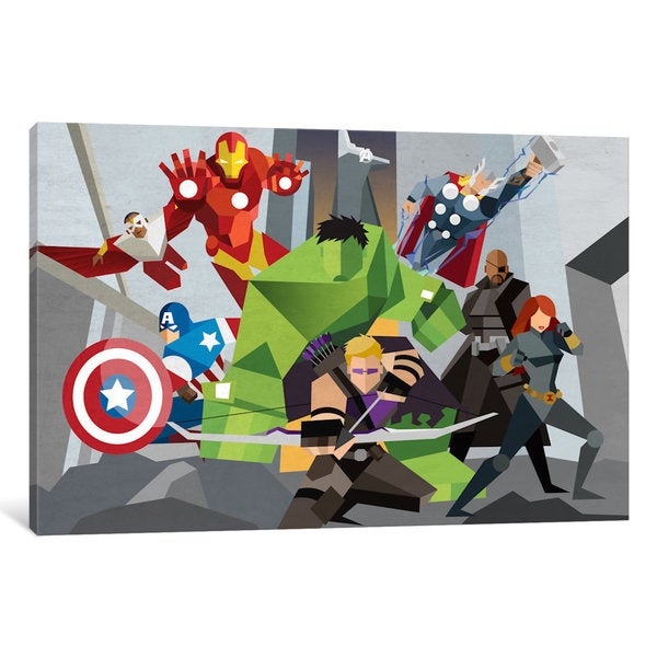 iCanvas Avengers Assmeble Geometric: Avengers by Marvel Comics Canvas Print