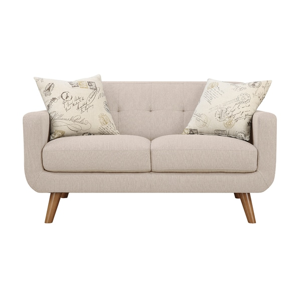 Emerald Remix Beige Loveseat With Two Accent Pillows 19530369 Shopping Great