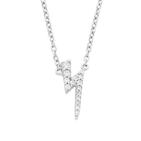 14k White Gold Diamond Accent Lightening Bolt Fashion Pendant Necklace