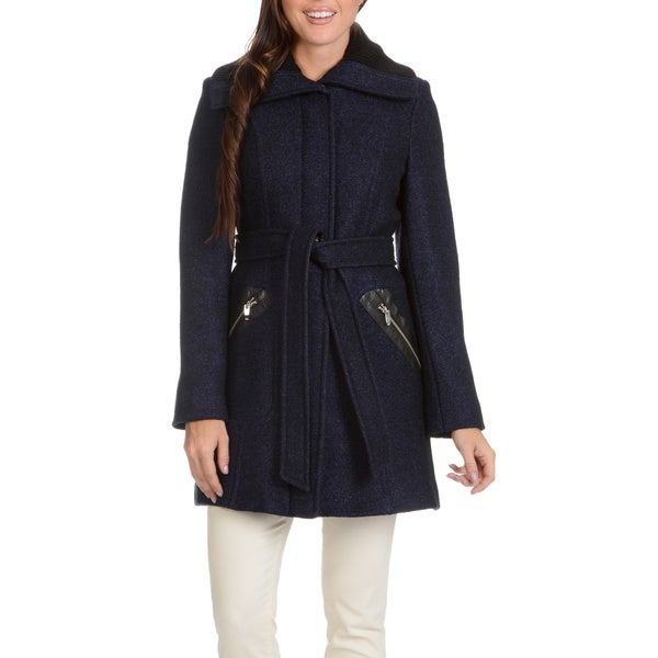 Ladies Belted Coat with Knit Collar