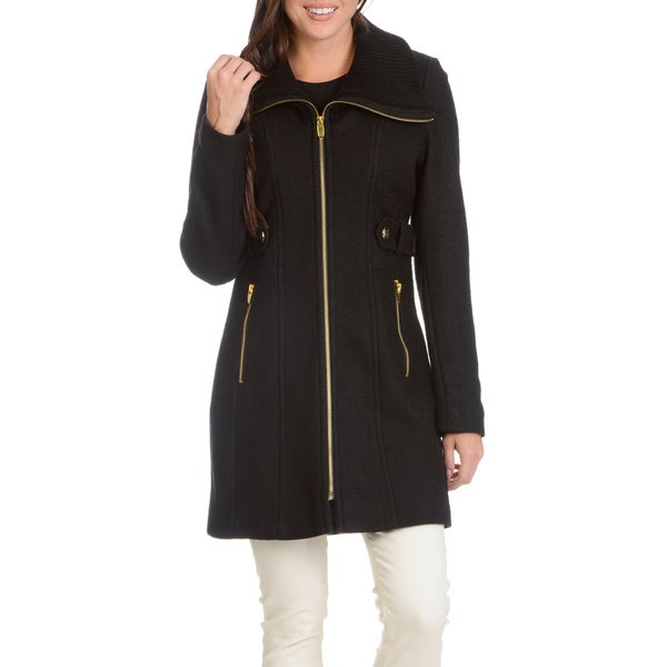 Ladies Coat with Knit Collar and Side Tab Detail