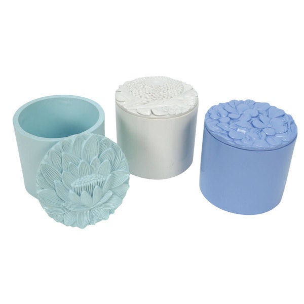 Small Ceramic Posy Trinket Box (Set of 3)