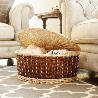 Household Essentials Tan Wicker Halfmoon Wicker Basket With Lid