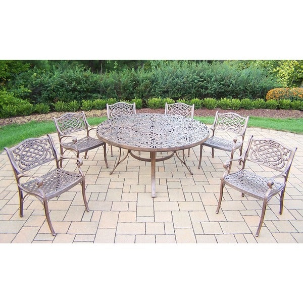 Oakland Living Bronze Aluminum Outdoor Dining Table and 6 Chairs (7-piece Set)