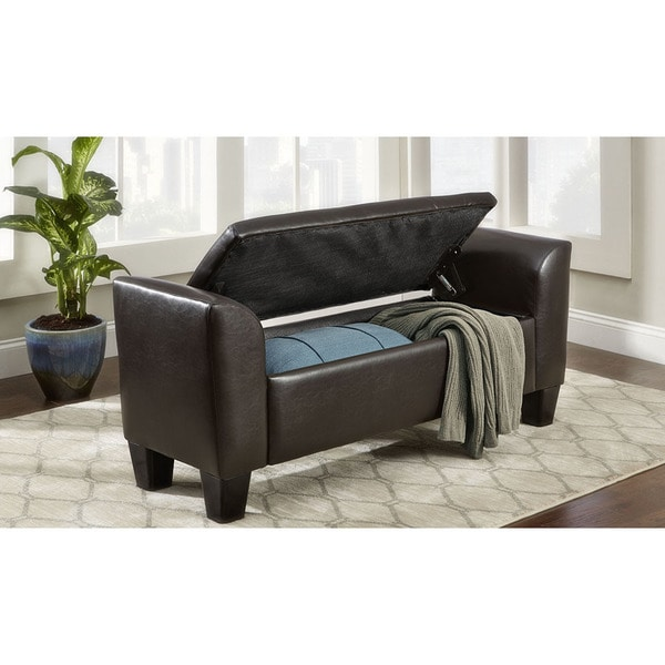 Mayfair Brown Faux Leather Storage Bench
