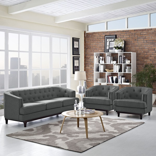 Coast Button Tufted Upholstered 3-piece Living Room Set