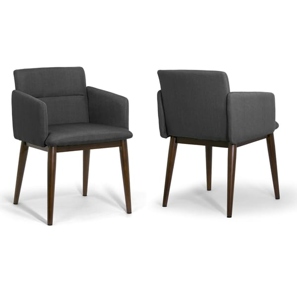 Aila Dark Grey/Dark Brown Fabric/Beech Legs Accent Arm Chair (Set of 2)