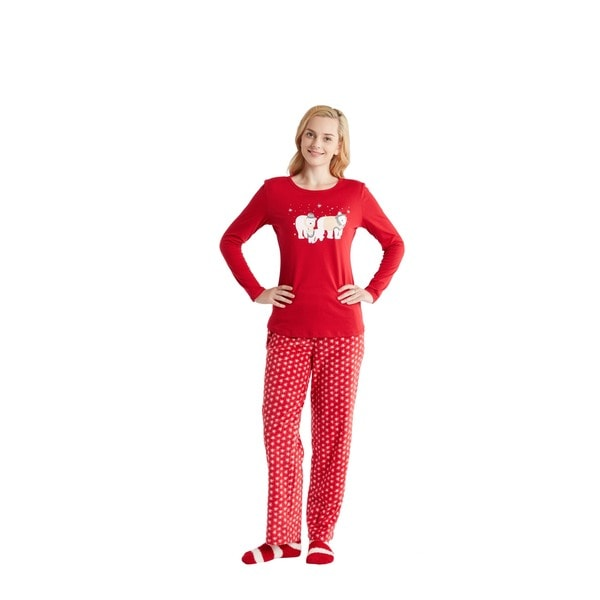 HipStyle Polar Bear Red 3-piece Pajama Set