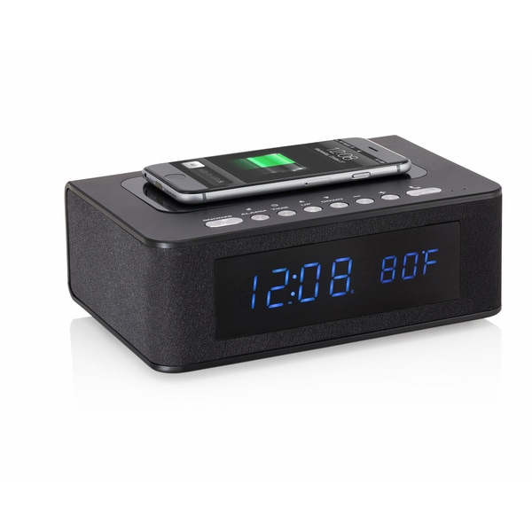SXE Black Plastic Bluetooth Speaker LED Alarm Clock with Wireless Charging Pad