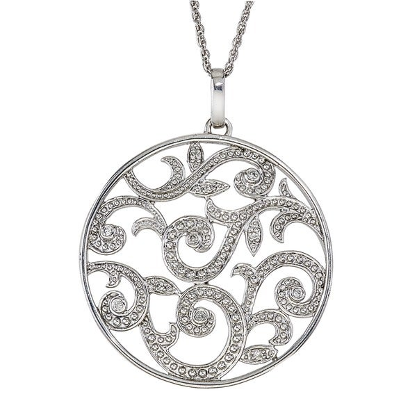 Diamond Scroll Circle Pendant in Sterling Silver By Ever One (0.12 carats, H-I I3)
