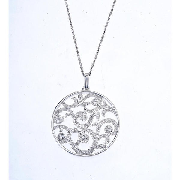 Sterling Silver 1/6ct TDW Diamond Scroll Circle Pendant By Ever One (H-I, I2-I3)