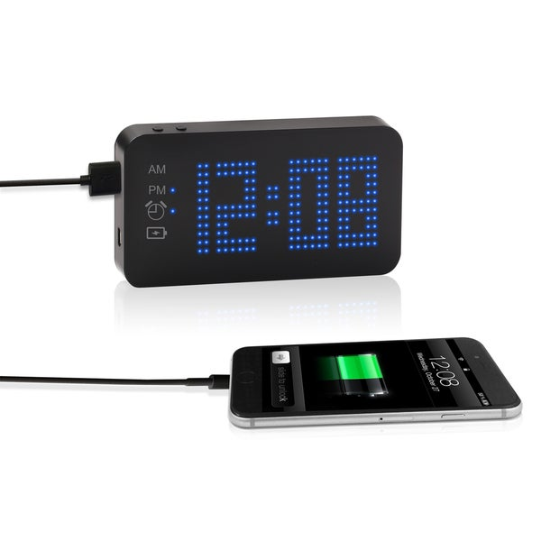 SXE Black Plastic Blue Dot-Matrix Portable Power Bank Alarm Clock
