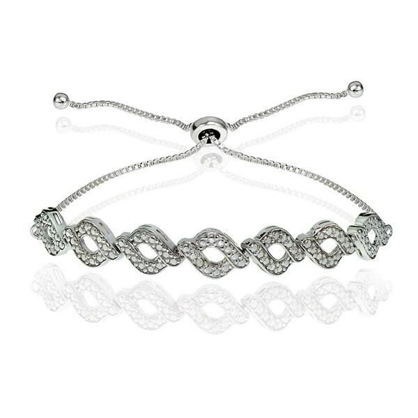 DB Designs Sterling Silver Diamond Accent Wave Braid Adjustable Slider Bracelet 20906719