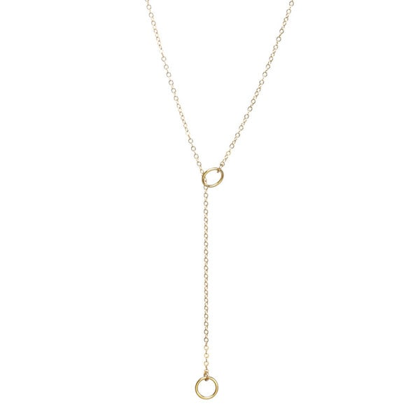 Mint Jules Dainty 18k Gold Double Circle Lariat Layering 18-inch Necklace 20930142