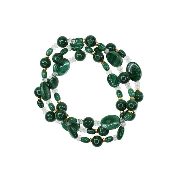 14k Yellow Gold Malachite and Green Amethyst 3-row Stretch Bracelet 20943265