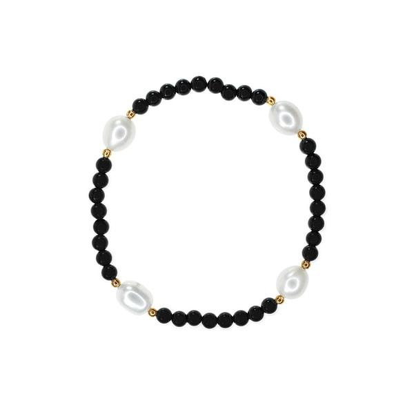 White Freshwater Pearl Black Onyx Bracelet