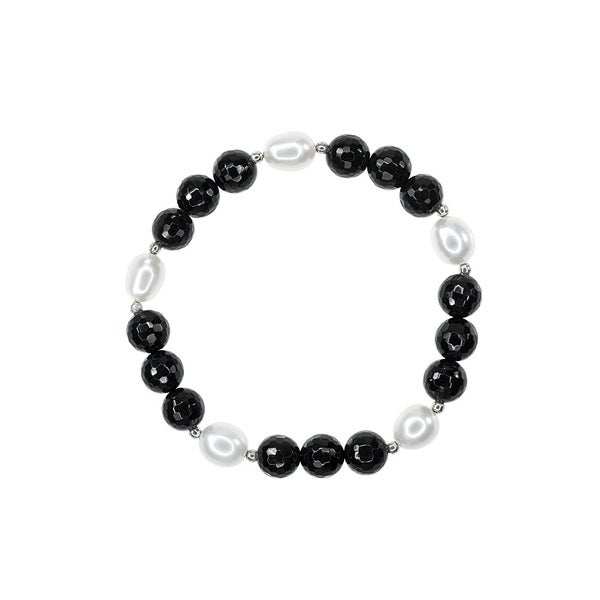 White Fresh-water Pearls Faceted Black Onyx Bracelet
