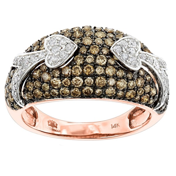 Luxurman Unique Luxurman Champagne Diamond Right Hand Ladies Ring 1.5ct 14K Gold (G-H/champagne; SI1