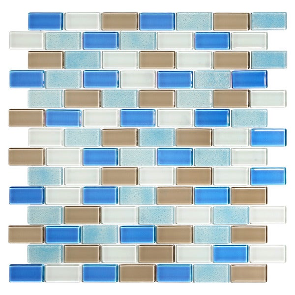 Seashore Blue/White/Tan Glass Mosaic Tile Blend