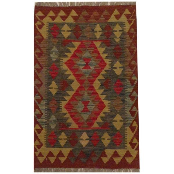 Herat Oriental Afghan Hand-woven Tribal Wool Kilim (2'1 x 3'2) - 2'1 x 3'2 21023544
