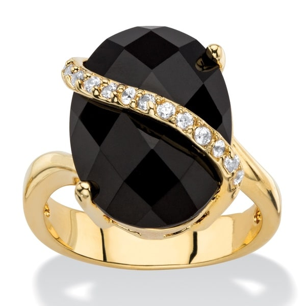 PalmBeach .20 TCW Oval Checkerboard-Cut Genuine Black Onyx and Pave CZ Cocktail Ring 14k Gold-Plated