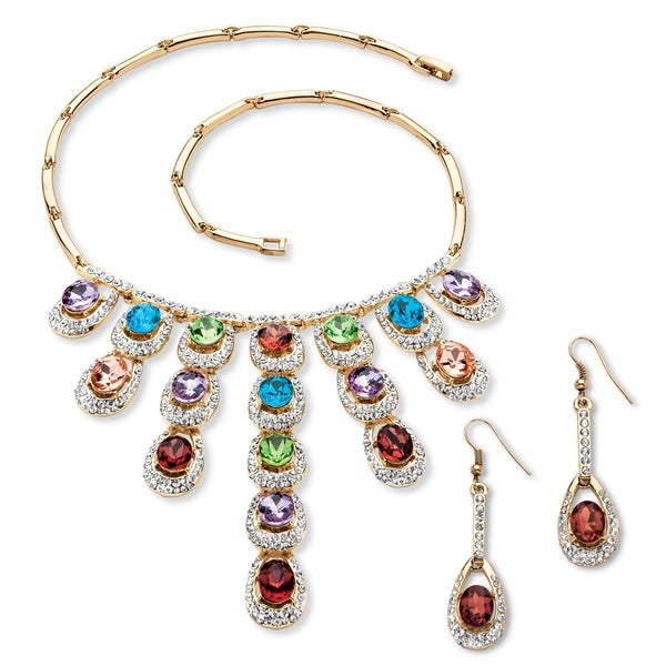 PalmBeach Oval-Cut Multicolor Crystal Halo Necklace and Drop Earrings Set in Gold Tone Bold Fashion