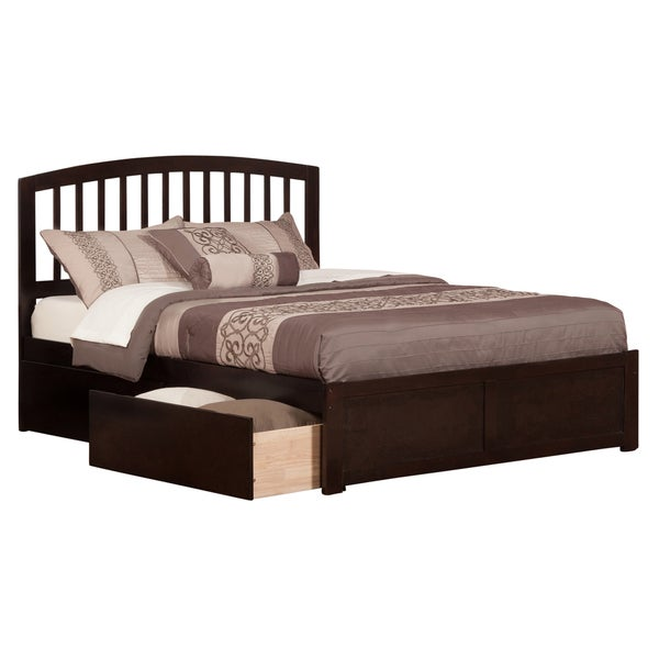 Atlantic Richmond Espresso-finish Wood Queen-size Flat-panel Footboard Platform Bed with 2 Urban Bed Drawers