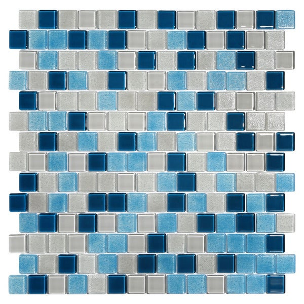 Tides Blue and White Glass TIle