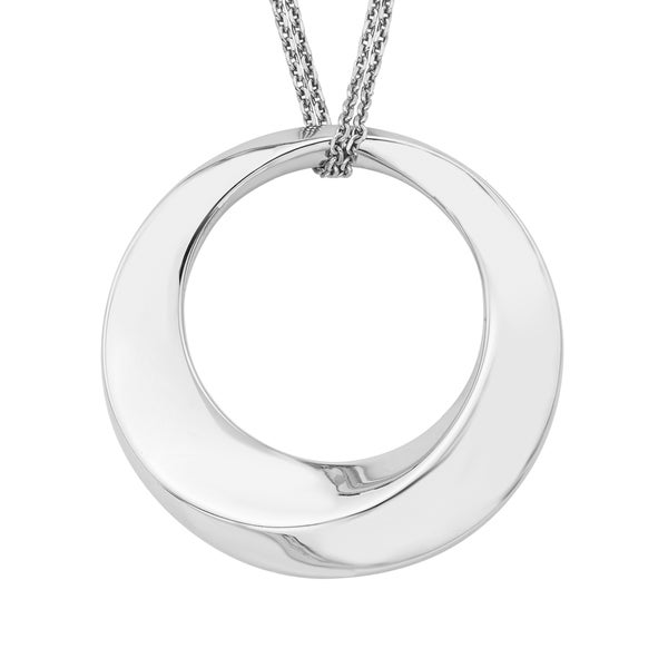 Boston Bay Sterling Silver 17-inch Dimensional Circle Pendant Necklace
