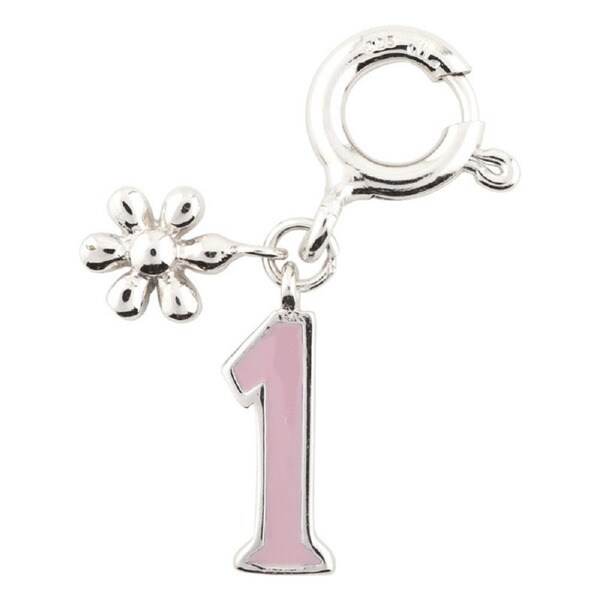 Sterling Silver Rhodium Plated Pink Enamel Number Flower Charm for Charm Bracelet, 0-9