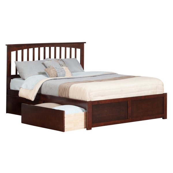 Atlantic Mission Walnut Wood King Flat-panel Footboard Bed With 2 Drawers