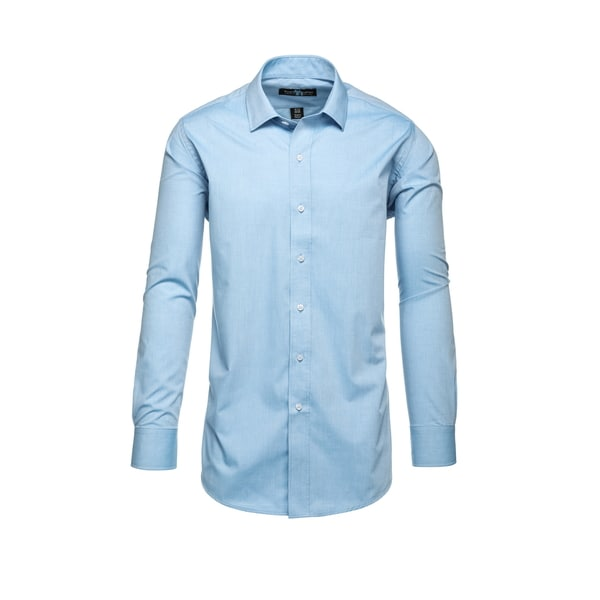 Steve Harvey Light Blue Polyester Blend Birdseye Textured Dress Shirt