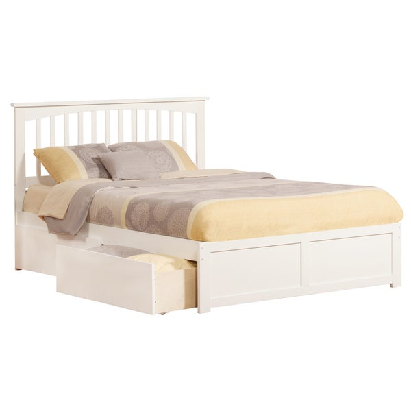 Mission Queen White Flat Panel Foot Board With 2 Urban Bed Drawers