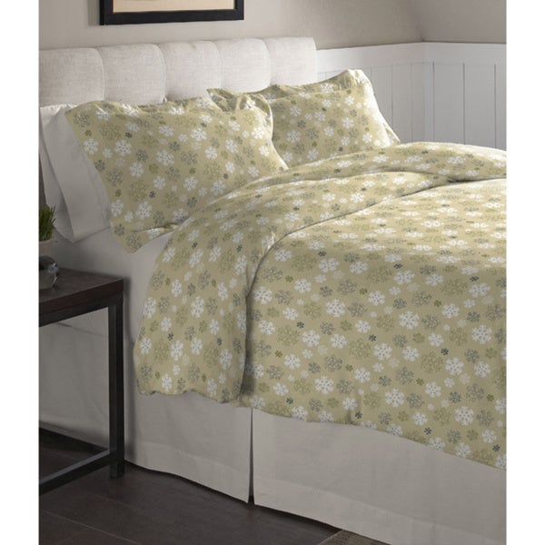 Pointehaven Snowflake Oatmeal Cotton Flannel Duvet Set