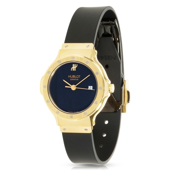 Pre-Owned Hublot Classic 1395.3 Quartz Watch in 18K Yellow Gold w/Rubber Strap