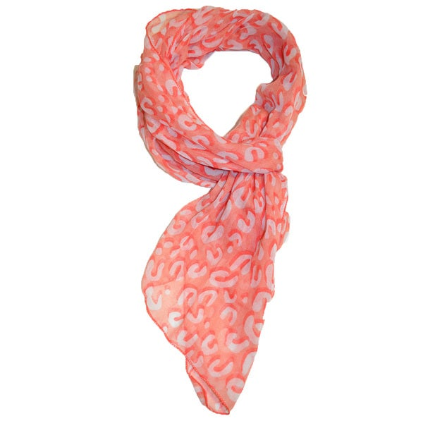 Coral Red Leopard Print Scarf