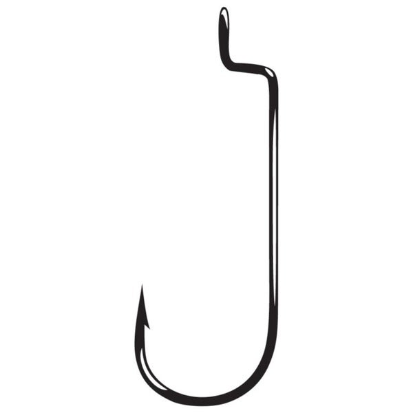 Gamakatsu 5/0 Black Round Bend Offset Shank Worm Hook (Case of 25)